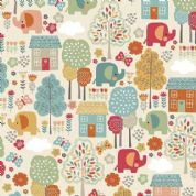 Makower UK - Ellie - 6231 - Multicoloured Elephant Scenic Print - 2070_T - Cotton Fabric